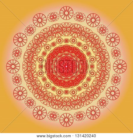 Beautiful vector mandala. Cute illustration with flowers