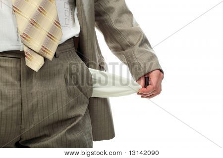 Business theme: businessman in a critical situation.