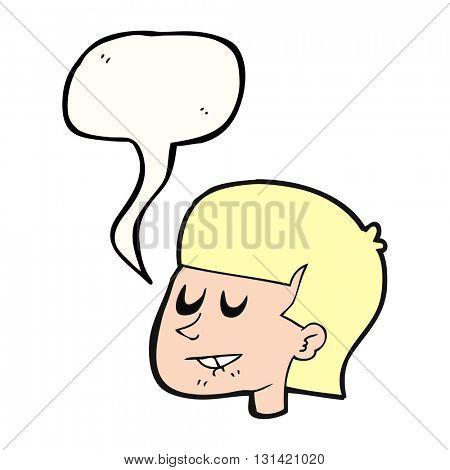 freehand drawn speech bubble cartoon man biting lip