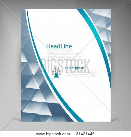 Vector Beautiful Blue Flyer. Template flyers design. Business brochure and triangle