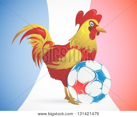 Rooster as symbol of France on top of football ball with France flag on background