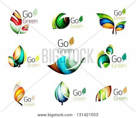 Green nature leaf vector concept icon set. Vector illustration