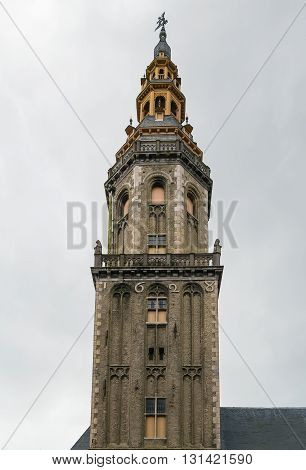 Veurne belfry on main market square at the heart of the community. It was built in 1617. Belgium