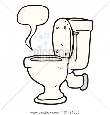 freehand drawn speech bubble cartoon toilet
