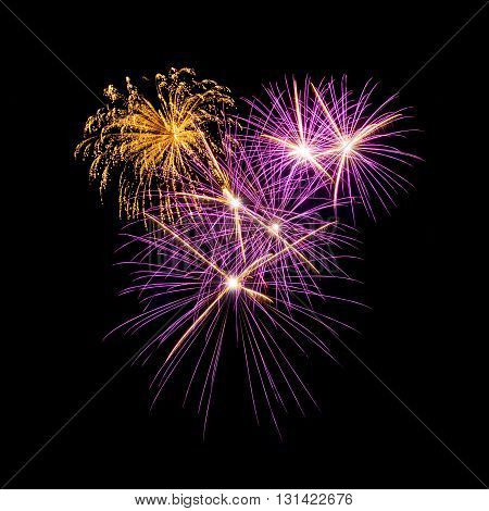 colorful fireworks over the dark sky background