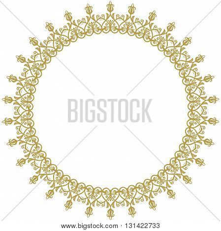 Oriental round frame with golden arabesques and floral elements. Fine greeting card