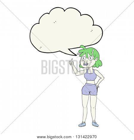 freehand drawn speech bubble cartoon alien gym girl