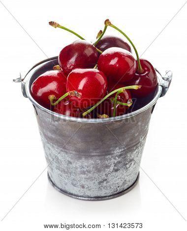 Cherry In Metallic Bucket Isolated On White