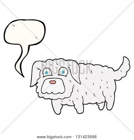 freehand drawn speech bubble cartoon small dog