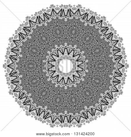 Round Geometric Ornament Isolated on White Background