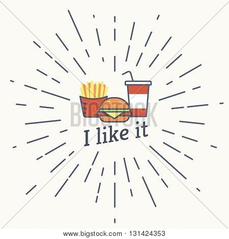 Big burger with french fries and milk shake vintage label in hipster style with sunburst. Line contour icon on white background for restaurants and fast food cafe posters and banners