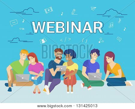 Group of creative people using laptop and tablet pc sitting on the floor and watching online webinar. Flat concept illustration of creative thinking and online webinar participating
