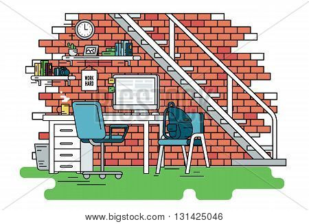 Flat line contour illustration of student workplace organization. Empty room interior with red brick wall, bookshelfs, work desk with computer, chair , school bag and green carpet. Isolated background