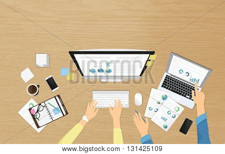 Realistic workplace banner for staff training and professional developement. Top view with human female and male hands on the textured table working with computer and laptop, using diary with graphs