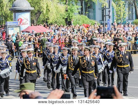 St. Petersburg, Russia - 9 May, Division military drummers on the march, 9 May, 2016. Festive military parade on the Palace Square in St. Petersburg.