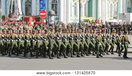 St. Petersburg, Russia - 9 May, The division of land military parade, 9 May, 2016. Festive military parade on the Palace Square in St. Petersburg.
