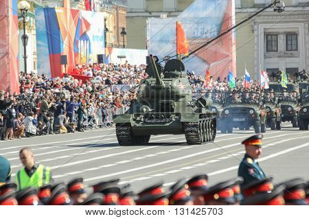 St. Petersburg, Russia - 9 May, The legendary T-34 tank on the Victory Parade, 9 May, 2016. Festive military parade on the Palace Square in St. Petersburg.