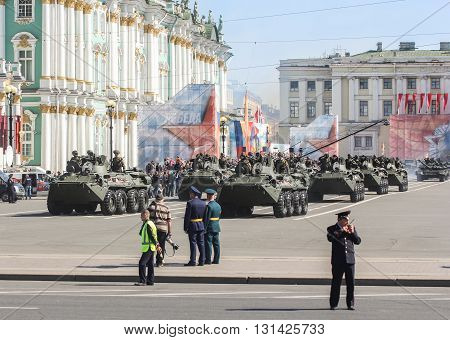 St. Petersburg, Russia - 9 May, Armored infantry division on the Palace Square, 9 May, 2016. Festive military parade on the Palace Square in St. Petersburg.