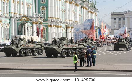 St. Petersburg, Russia - 9 May, Armored vehicles in the parade at the Winter Palace, 9 May, 2016. Festive military parade on the Palace Square in St. Petersburg.
