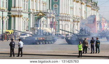 St. Petersburg, Russia - 9 May, Parade tank units, 9 May, 2016. Festive military parade on the Palace Square in St. Petersburg.