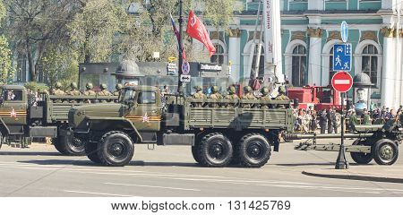 St. Petersburg, Russia - 9 May, Multifunction military vehicles in the parade, 9 May, 2016. Festive military parade on the Palace Square in St. Petersburg.