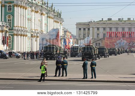 St. Petersburg, Russia - 9 May, Division multifunctional military trucks with howitzers, 9 May, 2016. Festive military parade on the Palace Square in St. Petersburg.