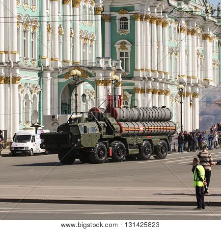 St. Petersburg, Russia - 9 May, Strategic missile systems near the Winter Palace, 9 May, 2016. Festive military parade on the Palace Square in St. Petersburg.