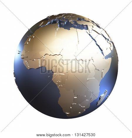 Africa On Golden Metallic Earth