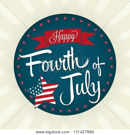 Fourth of July Vector Illustration with Banner and Star.