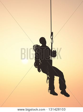 3d illustration of a climber on the rope.