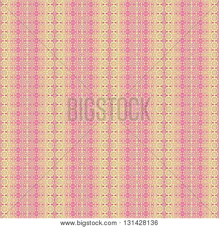 Abstract geometric seamless background. Floral stripes and circles pattern pink, violet and yellow.
