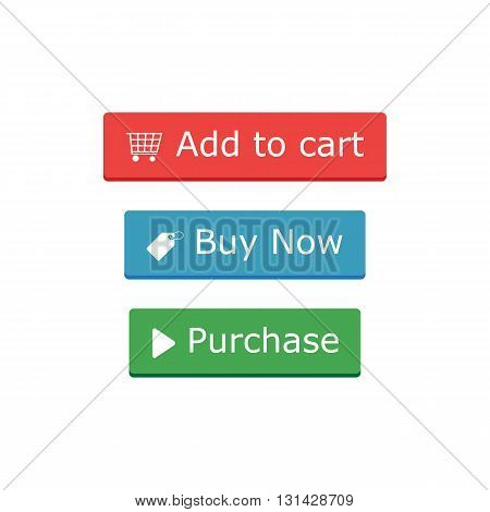 Add to cart, buy now and Purchase buttons and icons in flat style. Vector illustration.