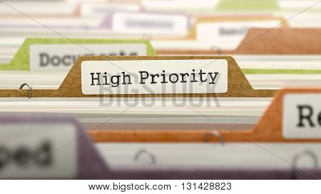Folder in Colored Catalog Marked as High Priority Closeup View. Selective Focus. 3D Render.