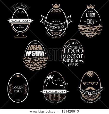 A set of templates in vector graphics for the producer or farm eggs in different graphic styles