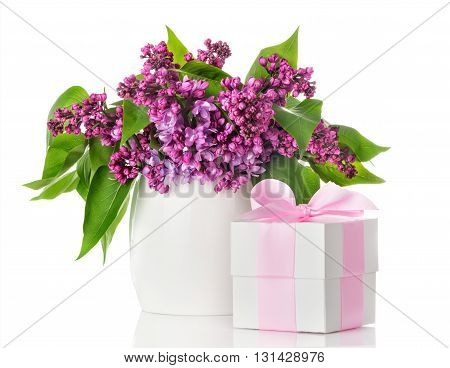 Lilac flowers in a white vase and gift box isolated on white background