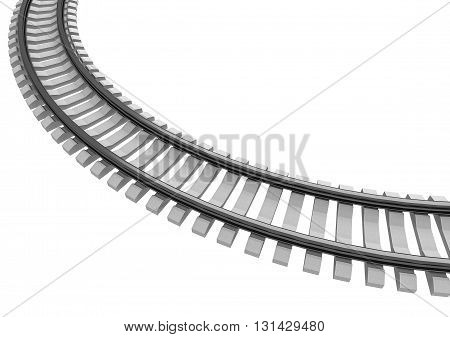 3D Illustration of a Single curved railroad track isolated on white
