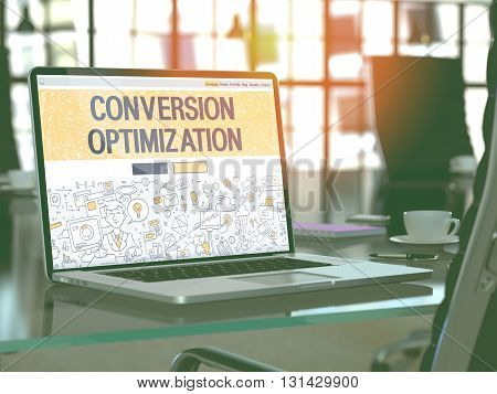 Conversion Optimization Concept Closeup on Landing Page of Laptop Screen in Modern Office Workplace. Toned Image with Selective Focus. 3D Render.