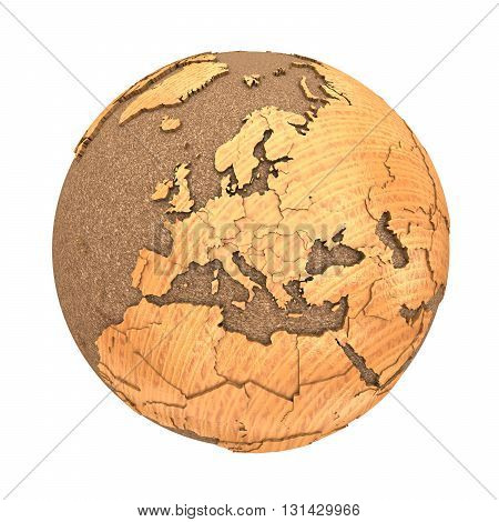 Europe On Wooden Planet Earth
