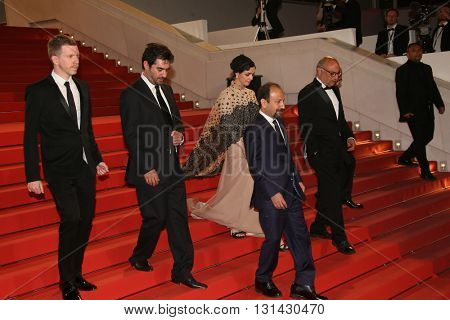 Asghar Farhadi,  Shahab Hosseini,  Taraneh Alidoosti, attend the 'The Salesman (Forushande)' during the 69th annual Cannes Film Festival at the Palais  on May 21, 2016 in Cannes, France.