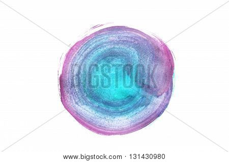 Abstract blue and pink paint blotch isolated over white