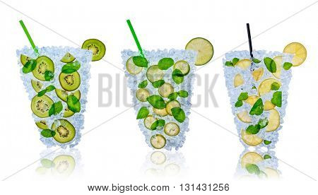 Ice fresh drink made of lemon, lime and kiwi slices placed on ice cubes. Isolated on white background