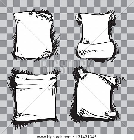 Hand drawn isolated sheets of paper. Universal vector templates
