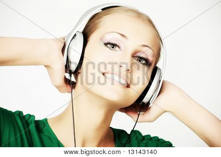 Portrait of a styled professional model. Theme: music, entertainment