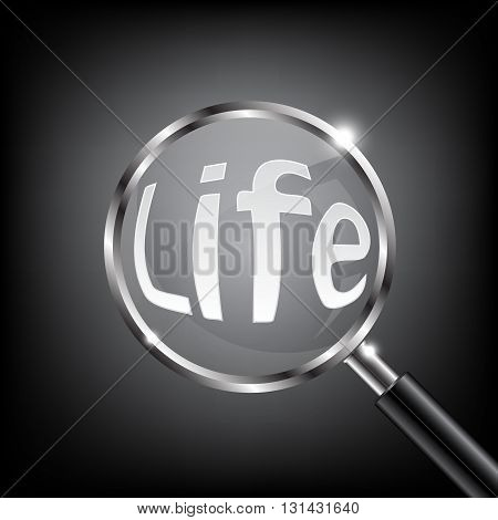 Magnifying Glass Focus Life on Black Background Vector Illustration