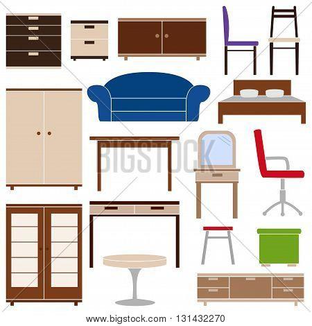 Set of furniture icons on white background, vector illustration