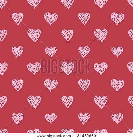 Seamless hand drawn heart pattern. Weddings and Valentine's Day decoration