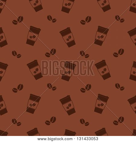 Vector seamless color brown pattern with coffee