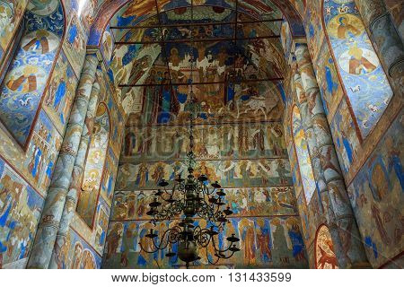 ROSTOV RUSSIA - JUNE 3 2013: Rostov Kremlin. There are frescoes on the walls of the ancient church of the Assumption.