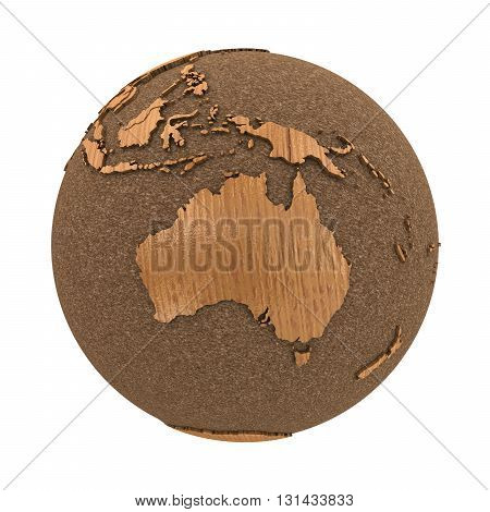 Australia On Wooden Planet Earth