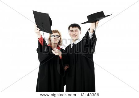 Portrait of young men in an academic gown. Educational theme.